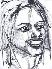 Portraitzeichnung, Kalligrafiestift, Bleistiftzeichnung, Schwarz weiß