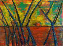 Herbst, Baumstamm, Bäume sonnenuntergang meer, Malerei