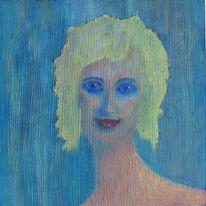 Blau, Jung, Lächeln, Portrait