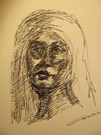 Lasziv, Frauenportrait, Langhaarig, Zeichnungen