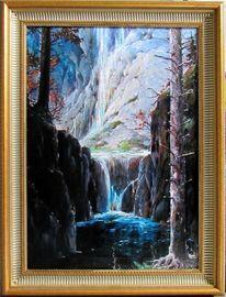 Schlucht, Wasserfall, Schwarzwald, Malerei