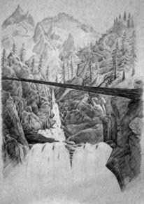 Landschaft, Natur, Wasserfall, Zeichnungen
