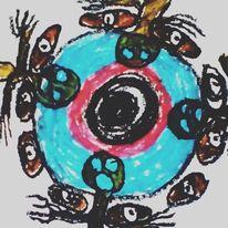 Hände, Herz, Augen, Malerei