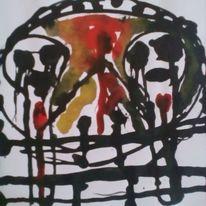 Schmerz, Augen, Blut, Malerei