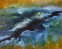 Abstrakt, See, Blau, Krater