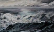 Brandung, Wolken, Acrylmalerei, Meer