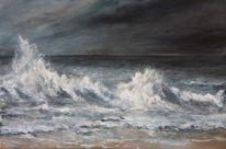 Meer, Acrylmalerei, Welle, Brandung