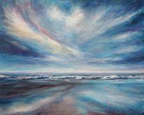 Acrylmalerei, Welle, Himmel, Weite