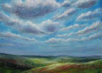 Wolken, Weite, Acrylmalerei, Wolkenfelder