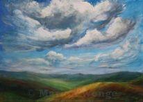 Acrylmalerei, Wolken, Feld, Weite