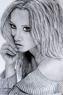 Zeichnung, Tisdale, Bleistiftzeichnung, Portrait