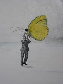 Schmetterling, Mann, Geschäftsmann, Malerei