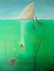 Schwan, Unterwasser, Ölmalerei, Malerei
