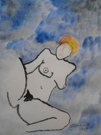 Frau, Farben, Tuschmalerei, Akt