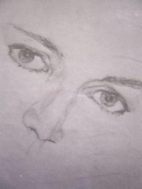 Portrait, Bleistiftzeichnung, Frau, Augen