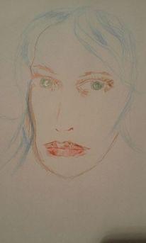 Buntstiftzeichnung, Portrait, Farben, Zeichnungen