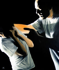 Menschen, Dunkel, Gewalt, Malerei