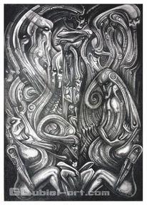 Bleistiftzeichnung, Verfolgung, Hexe, Surreal
