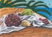 Früchte, Malerei, Sand, Strand