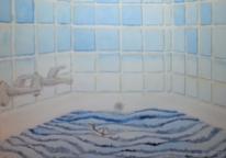 Aquarellmalerei, Blau, Sturm, Badewanne
