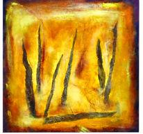 Schichtmalerei, Pflanzen, Siena, Intensiv