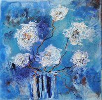 Blüten, Gespachtelt, Siena, Vase