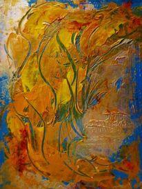 Acrylmalerei, Kontrast, Herbst, Blau