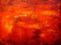 Expressionismus, Struktur, Orange, Pastellmalerei