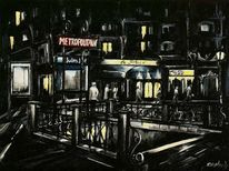 Impressionismus, Paris, Laterne, Acryl auf leinwand