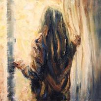 Gemälde, Mädchen, Ölmalerei, Fenster