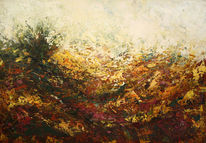 Acrylmalerei, Herbst, Rot, Heide