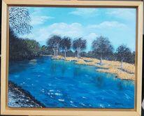 Landschaft, Wasser, Fluss, Malerei