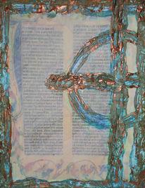 Collage, Kupfer, Bibel, Patina