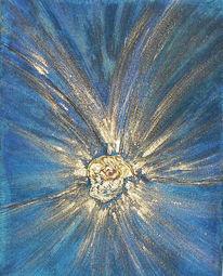 Gold, Blau, Malerei, Blüte