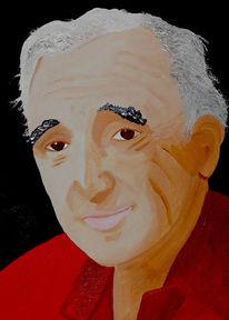 Acrylmalerei, Portrait, Malerei, Charles aznavour