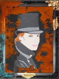 Dorian gray, Gold, Portrait, Acrylmalerei