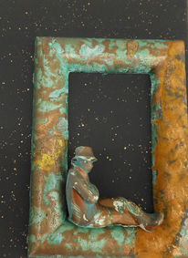 Der arme poet, Collage, Rost, Patina