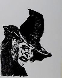 Malerei, Hexe, Fantasie, Acrylmalerei
