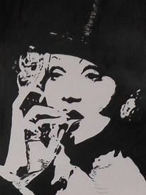 Portrait, Marlene dietrich, Acrylmalerei, Malerei