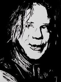 Portrait, Malerei, Mickey rourke, Schauspieler