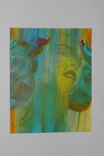 Mythologie, Nixe, Acrylmalerei, Malerei