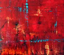 Himmel, Spachteltechnik, Abstrakt, Rot
