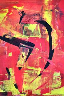 Abstrakt, Gouachemalerei, Matt, Rot schwarz