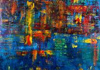 Bunt, Ölmalerei, Spachteltechnik, Abstrakt
