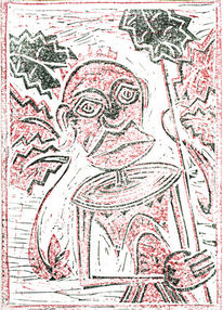 Linolschnitt, Rot schwarz, Maria magdalena, Druckgrafik