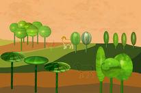 Surreal, Landschaft, Gemüse, Baum