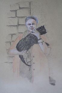 Frau, Zeichnung, Katze, Bleistiftzeichnung