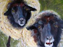 Schafe als rasenmäher, Malerei, Malerei und fotografie, Holzdruck