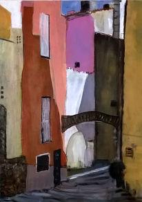 Straße in collioure, Frankreich, Gebäude, Malerei