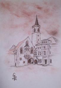Erfurt, Kohlezeichnung, Kirche, Skizze